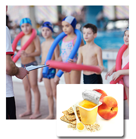 swim team with healthy snack